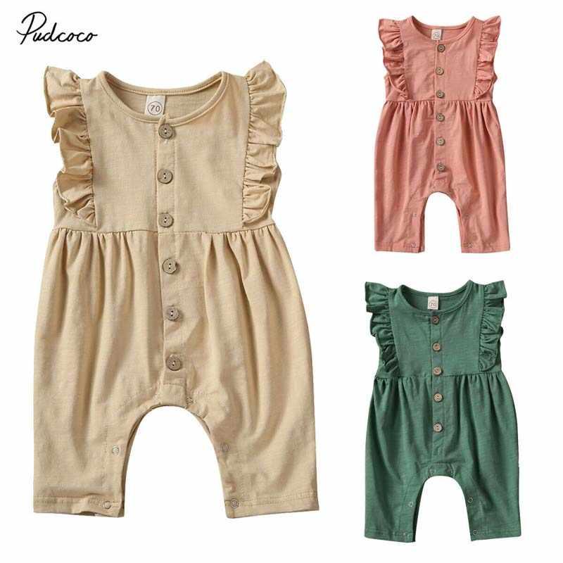 2020 bebek yaz giyim yenidoğan bebek bebek kız giysileri fırfır kolsuz yumuşak Romper bambu kumaş tulum katı kıyafetler