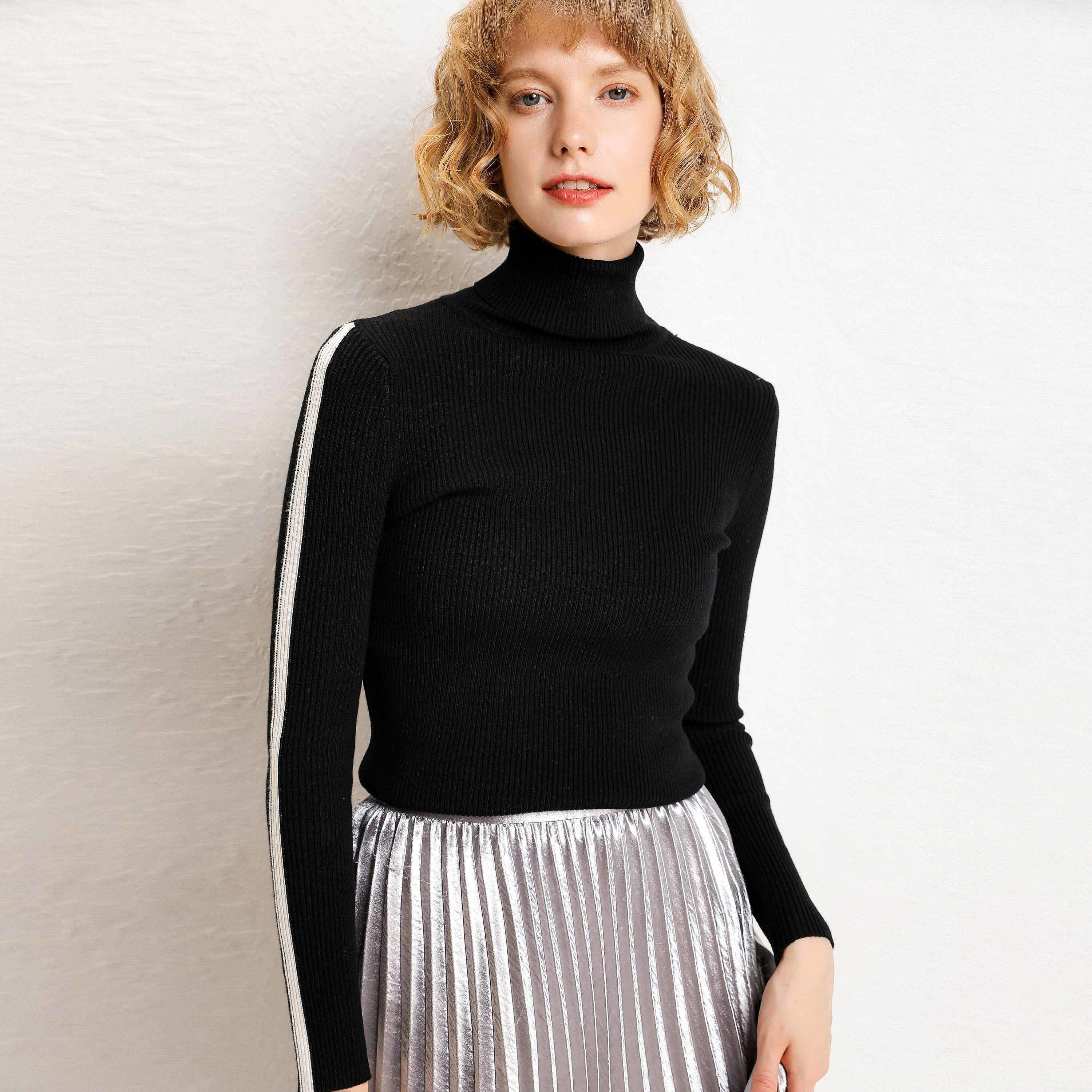 Slender Women's Sweaters With Tall Necks Provo New Winter Ladies In Bottoms In Autumn 2019
