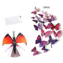 цена на 3D Simulation Butterfly Wall Stickers Refrigerator Stickers Wedding Decoration Brooch Hair Accessories Stickers Pvc