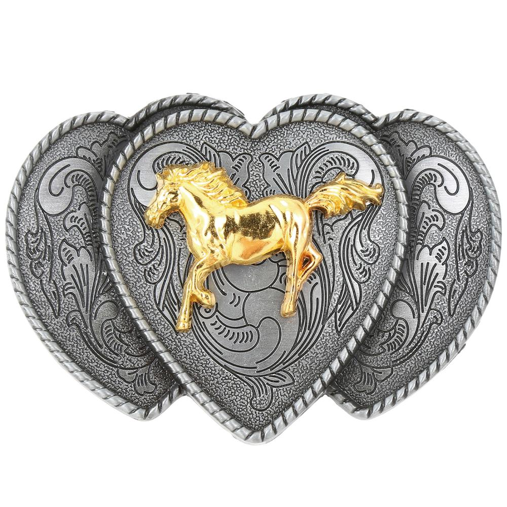 Promotional Golden Horse Cowboy Belt Buckle Metal Belt Buckle Men's Cowboy Fashion Matching Accessories