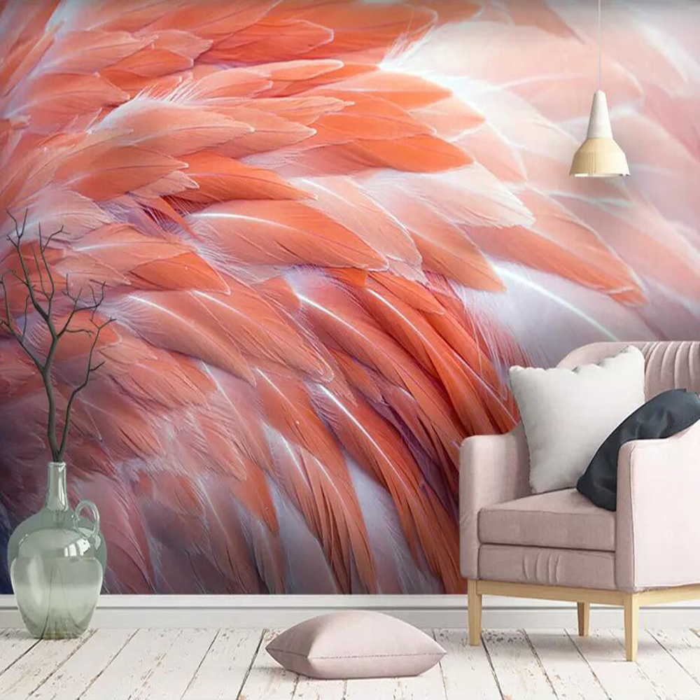 Dropship Custom Large 3D Wallpaper Mural Nordic Simple Flamingo Feather Living Room Bedroom Wall Decoration Wallpaper Mural