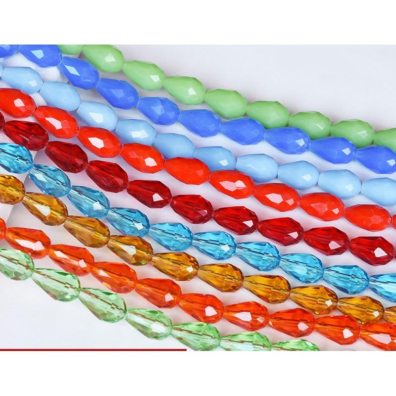 Хрустальные бусины STENYA 3*5 мм, 100 шт., граненые ювелирные изделия в форме капли, ожерелья, браслета, стеклянные Швейные подвески, аксессуары «с...