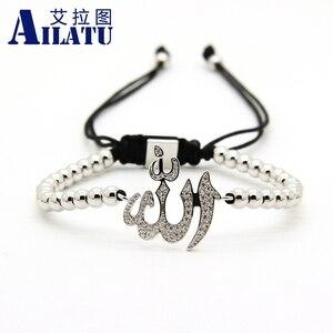 Image 2 - Ailatu hurtownia muzułmańska religijna bransoletka makrama Micro Pave wyczyść Cz mosiądz moda męska biżuteria