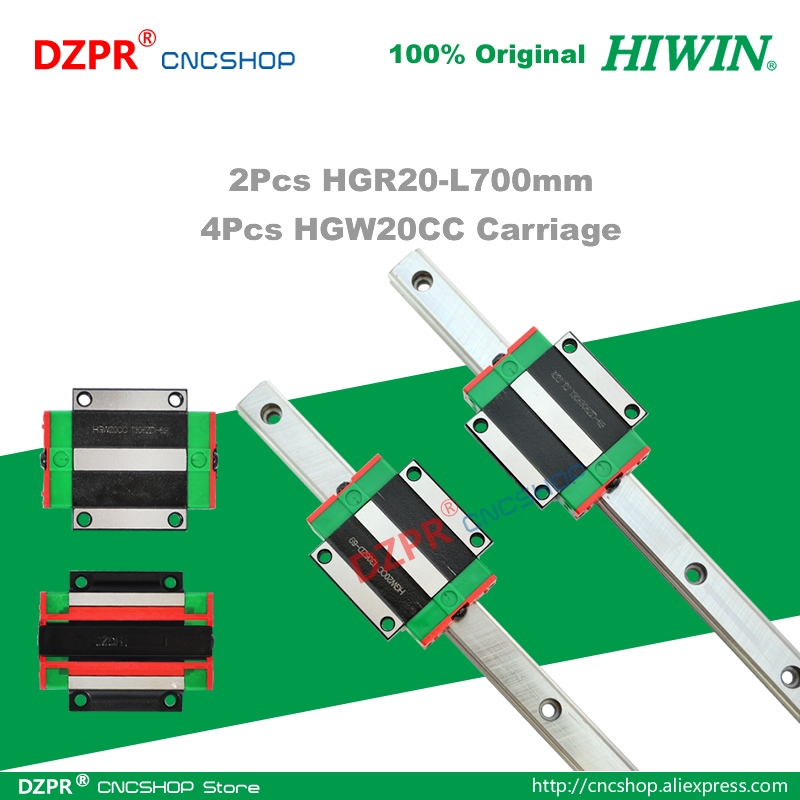Original HIWIN HGR20 Linear Guide 700mm 27.56in Rail HGW20CC Carriage Slide for CNC Router  Engraving Woodwork Laser Machine