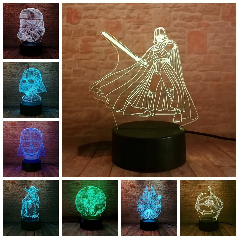 Star Wars Baby Yoda Figure 3D Illusion LED Lamp Colourful NightLight Death Star Darth Vader Mask Model Toys
