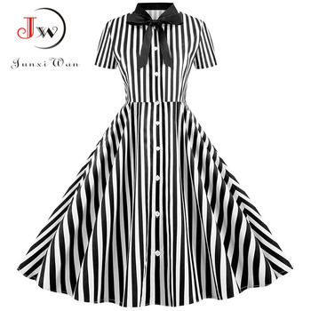 Summer Dress 2020 Women Elegant Vintage Short Sleeve Striped Print Bow Swing Party Office Pin up Dresses Casual Midi Plus Size 4