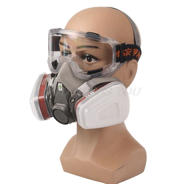 1Set Painting Spraying Dust Gas Mask Respirator Safety Work Filter Dust Mask For 3M 6200 5N11 6001 501 N95 No Glasses 1