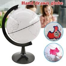 Erasable Globe-Model World-Map with 4-Brush Nk-Sh Teaching Drawing Implement DIY Plastic
