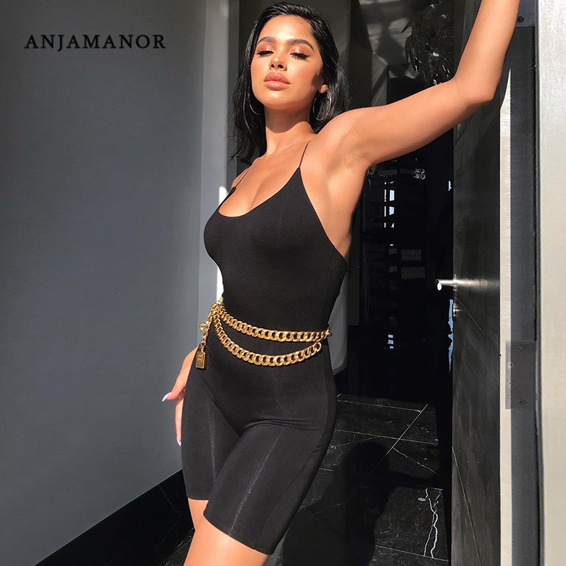 ANJAMANOR Black Sexy Rompers Womens Jumpsuit One Piece Outfit Women Strappy Backless Biker Shorts Bodycon Playsuit Summer D53I14