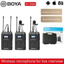 Uhf Dual Draadloze Microfoon Boya BY-WM8 Pro K1 K2 Interview Mic Audio Video Recorder Ontvanger Microfoon Voor Canon Nikon Sony camera
