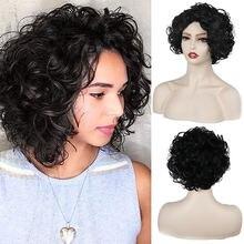 Короткие вьющиеся парики для черно белых женщин термостойкие