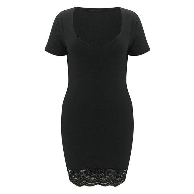 2021 New Women Casual Black V-Neck Lace Splicing Short Sleeve Dresses Summer Sexy Solid Slim Mini Dress Daily Vestido De Mujer 5