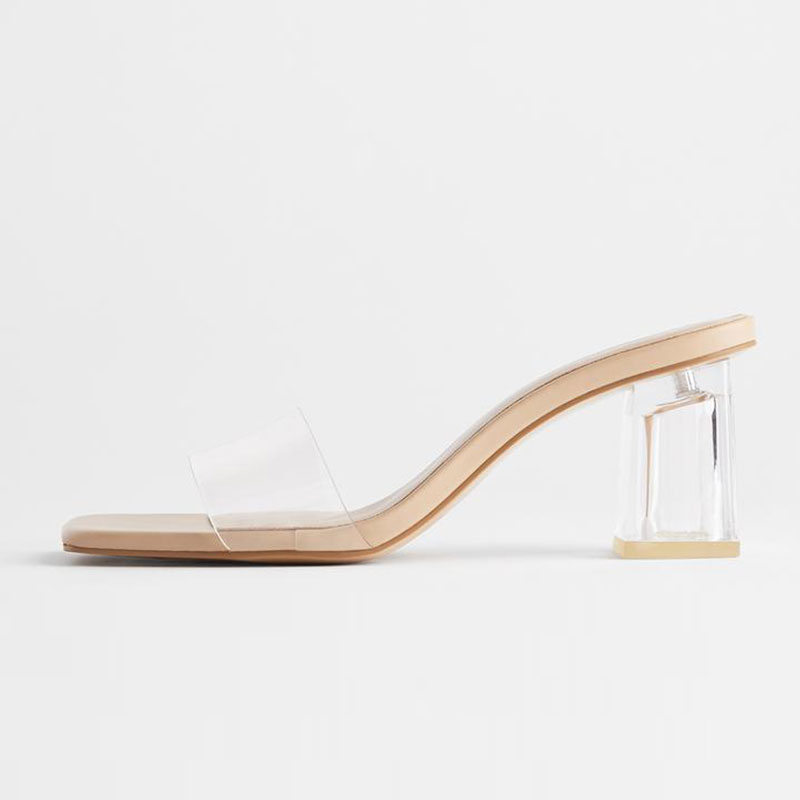 GENSHUO Shoes Transparent Heel Mule Shoes Thick Heeled High Heel With Open Toe Sandals Women Size 35-40 Lady Slippers Slides