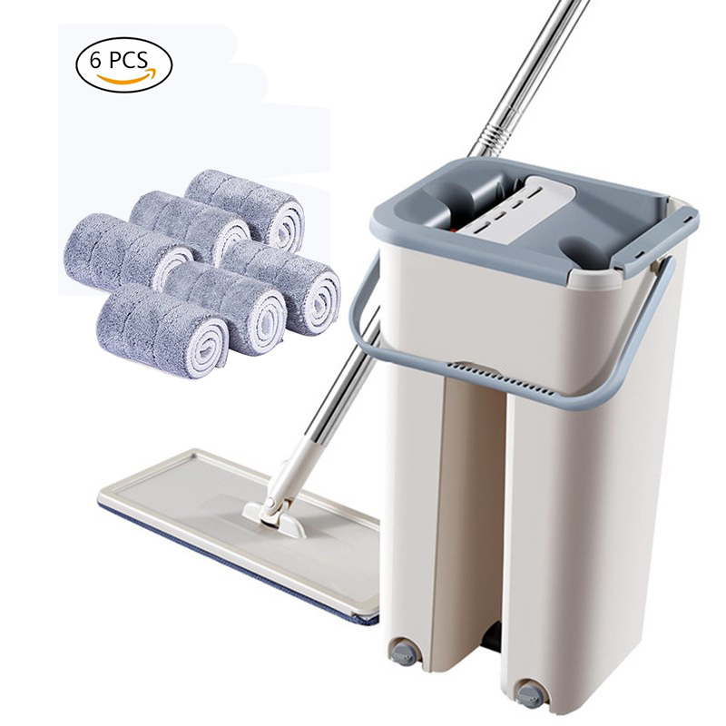 Flat Magic Cleaning Mops Free Hand Mop Shipping Floors Squeeze Flat Mop with Water Home Kitchen Floor Cleaner with Bucket Drop