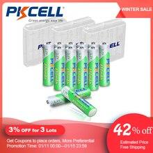 12 adet PKCELL AAA pil 1.2V 850mah NI MH AAA şarj edilebilir piller LSD 3A akümülatör ve 3 adet AA/AAA pil depolama tutucu