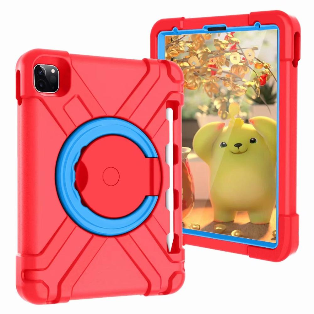 Red-Blue Gray High Duty for iPad Pro 11 2018 2020 Case Kids A1980 A2230 Shockproof EVA 360 Pencil