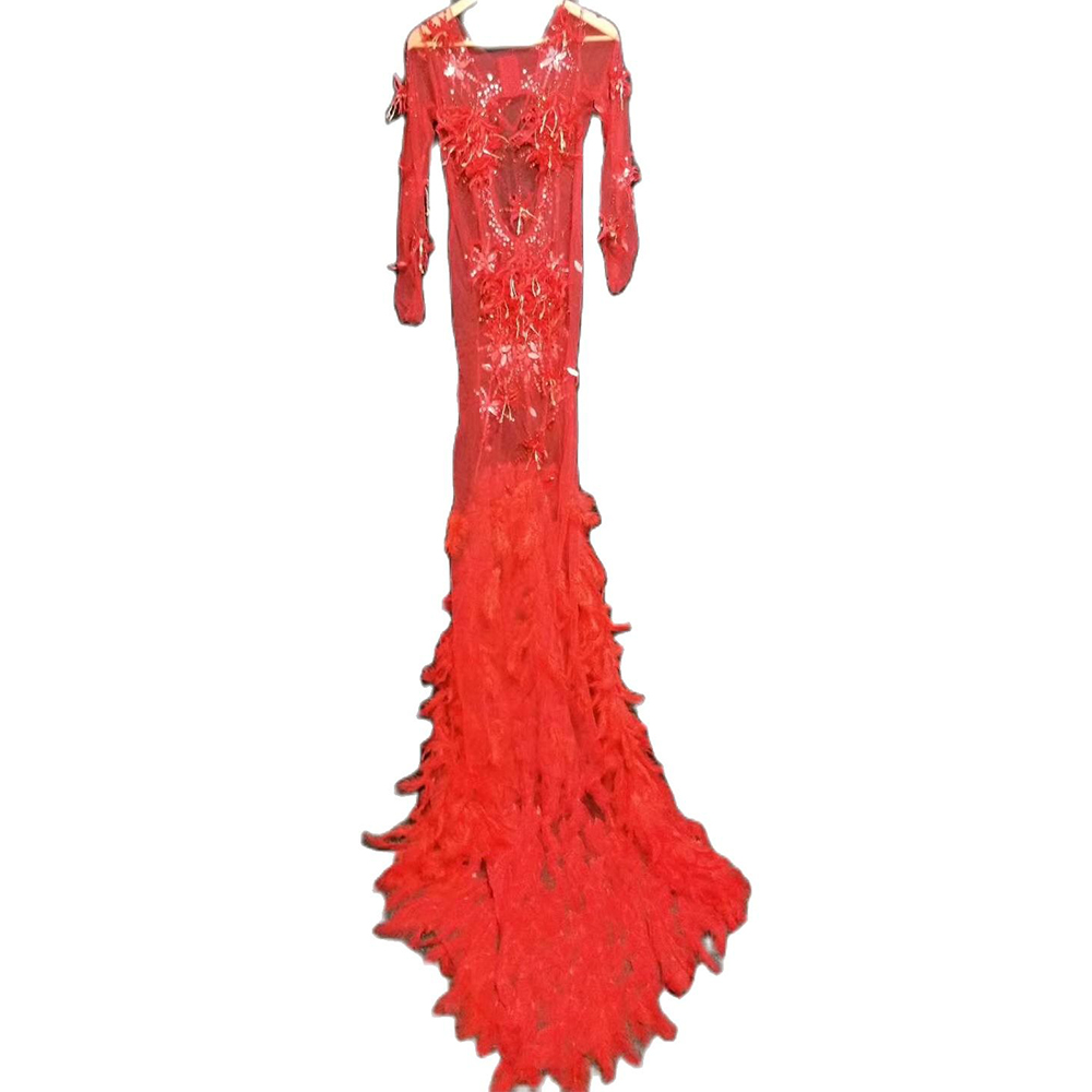 Red Appliques Net Yarn Perspective Women Dresses Long Tailing Feather Backless Dresses Wedding Prom Costumes Dancer Stage Outfit