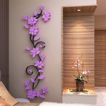 Fashion 3D DIY Removable Art Vinyl Wall Stickers Vase Flower Tree Decal Mural Home Decor For Home Bedroom Decoration Y13 7