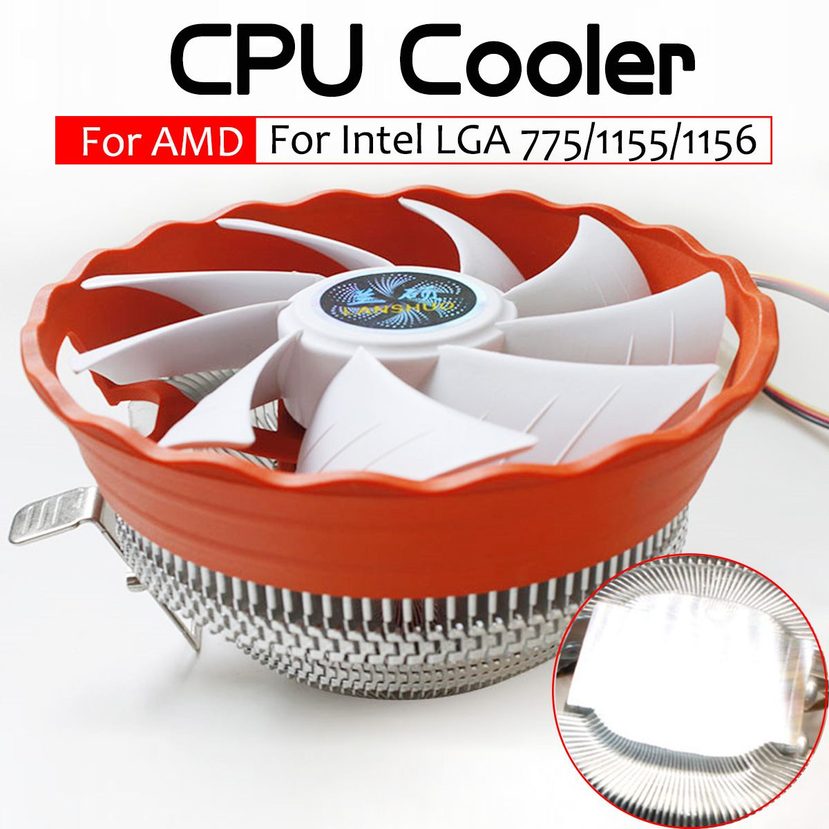 12V CPU <font><b>Cooler</b></font> Fan Cooling Heatsink RGB Fan <font><b>Cooler</b></font> Computer PC Case Cooling Radiator for Intel LGA 775 1150 1155 <font><b>1156</b></font> AMD1150 image