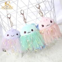 Beautiful Jellyfish Pendant Plush Stuffed Toys Colorful Jelly Fish Keychain Ocean Baby Animal Cartoon Dolls Cute Soft Decor Gift
