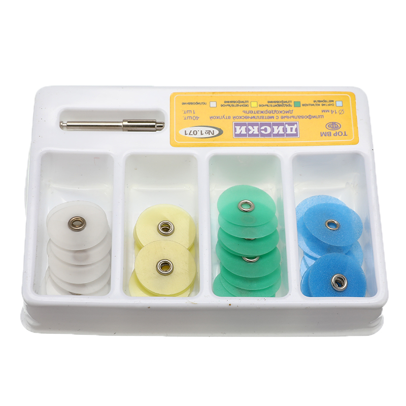 1Box 14mm Dental Polishing Discs Gross Reduction Contouring Mandrel Stripes Set Filling Material Needle Holder Oral Care