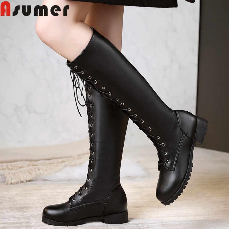 ASUMER 2020 büyük boy 34-48 yeni diz yüksek çizmeler kadın dantel kadar muhtasar düşük topuklu rahat ayakkabılar sonbahar kış uzun çizmeler kadın