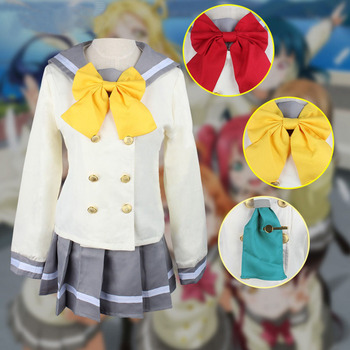 Anime Love Live! Sunshine!! Cosplay Costume Aqours School Uniforms Kurosawa Ruby Sailor Suit Wig Cosplay love live lovelive sunshine aqours aquarium anime yoshiko chika hanamaru ruby you dia riko kanan mari beanchain acrylic keychain