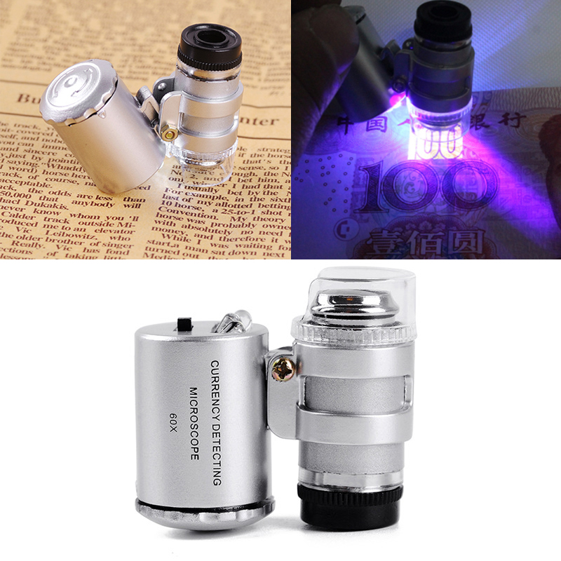 PINTUDY 60X Magnifying Loupe Jewelry Jewelers Pocket Magnifier Loop Eye Coins Led Light Optical Instruments Microscopes 2019 New