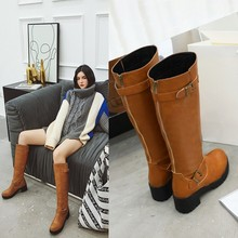 women knee high boots round toe low heels warm shoes woman chaussure zapatos mujer WXZ193 цены онлайн