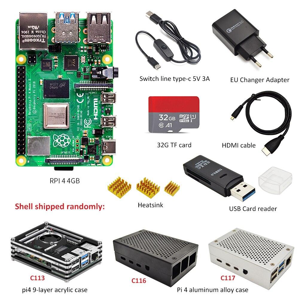 Raspberry Pi 4 B 2 GB/4 GB kit 3 types de boîtier + adaptateur secteur ue + ligne de commutation + carte TF 16 GB/32 GB + lecteur de carte USB + câble HDMI - 3