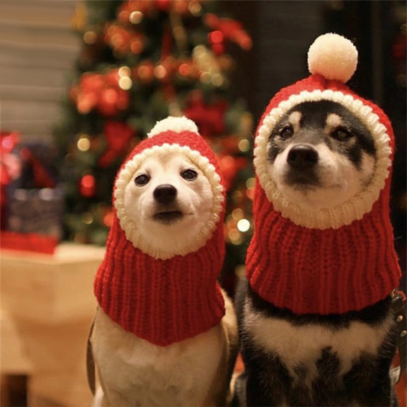 Pet Hats Winter Christmas Dog Cat Cap Funny Holiday Costume Puppy Santa Red Hat With Ball Headwear for Small Medium Large Dogs