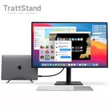 อลูมิเนียมขาตั้งแล็ปท็อปแนวตั้งสำหรับ Apple MacBook Pro Air Space Saving Rack เดสก์ท็อปที่สร้างขึ้น2020 M1 13.3 16แขนโน้ตบุ๊ค
