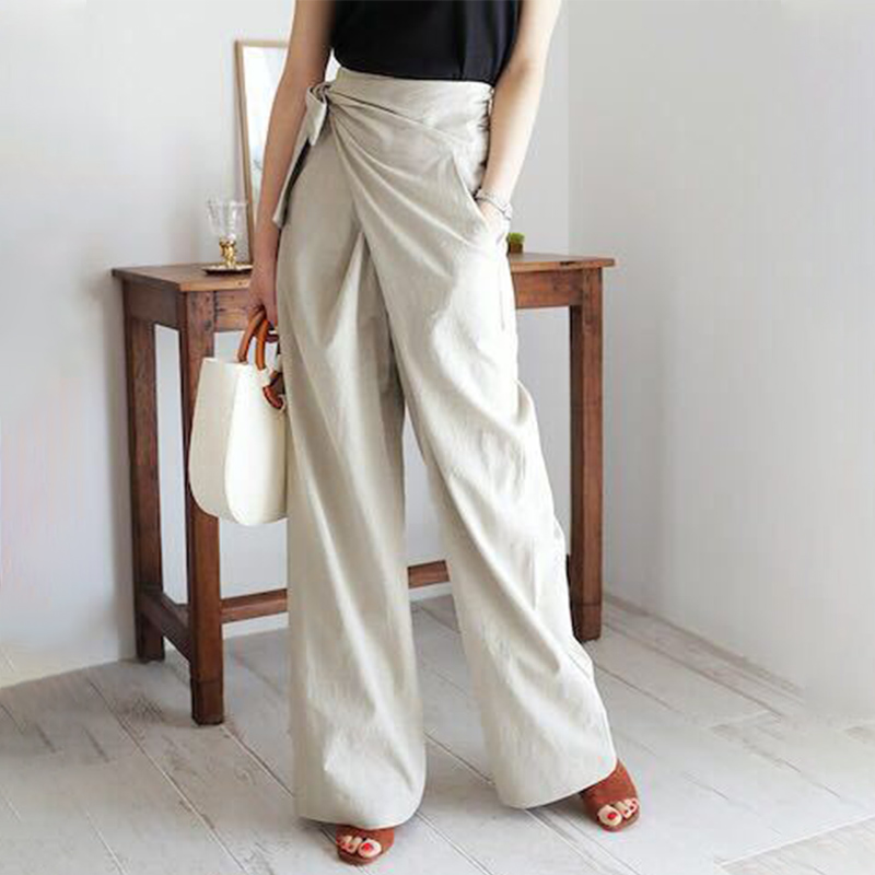 Korean Wide Leg Lace Up Bow Women Pants High Waist Pockets Casual Loose Female Trouser 2020 New Spring Solid Ladies Trousers