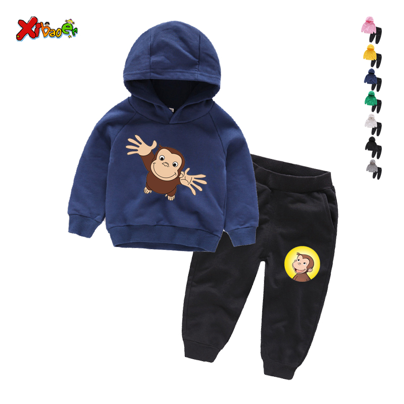 Boys girls Clothes Cartoon monkey Autumn Winter Kids tracksuit Clothes Hooded+Pant Children Clothing Suit For Boy Sets 2-9 Years