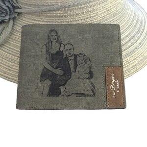 Мужской кошелек на заказ с семейным фото, серый тканевый короткий кошелек, мужской короткий кошелек с выгравированным именем и карманами на...
