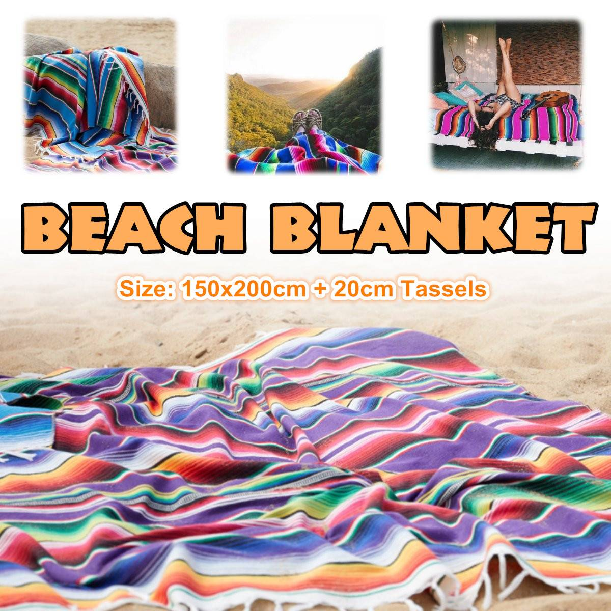Mexican Ethnic Style Beach Blanket Cotton Handmade Rainbow Blanket Home Tapestry Beach Camping Picnic Travel Plane Mat 150X200CM image
