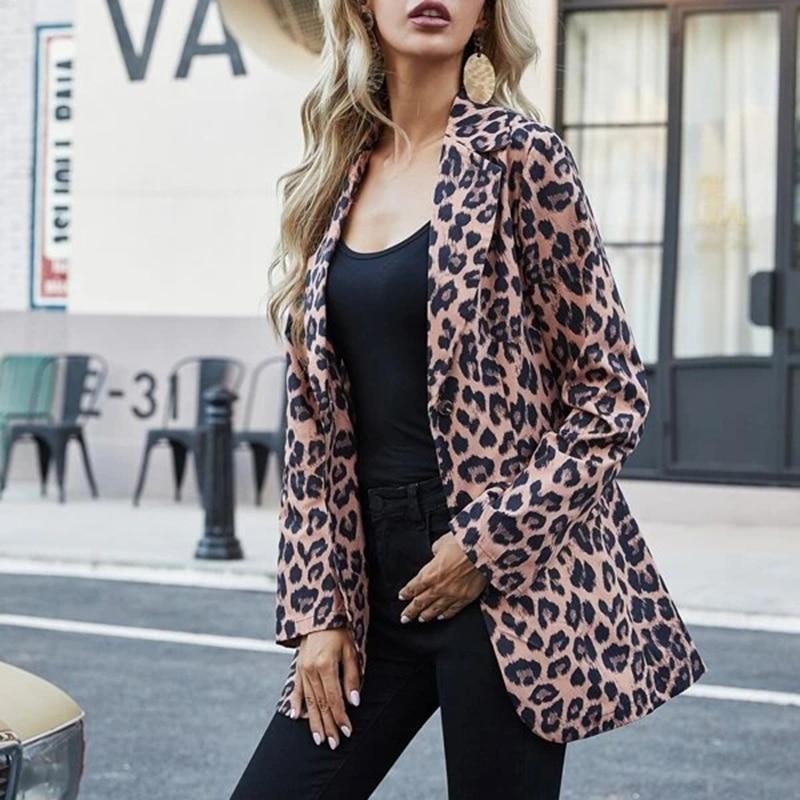 H313b0fbfbbce4f9a913e53d002340008K Fashion Trend Women Lapel Leopard Print Long Sleeves Suit Jacket Elegant Fall Winter Office Lady Cardigan Coat Casual Streetwear