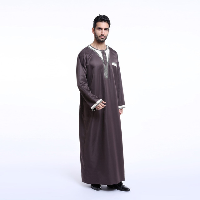 Robes for Men Round Neck Embroidery Long Sleeve Arabic Dubai Indian Middle East