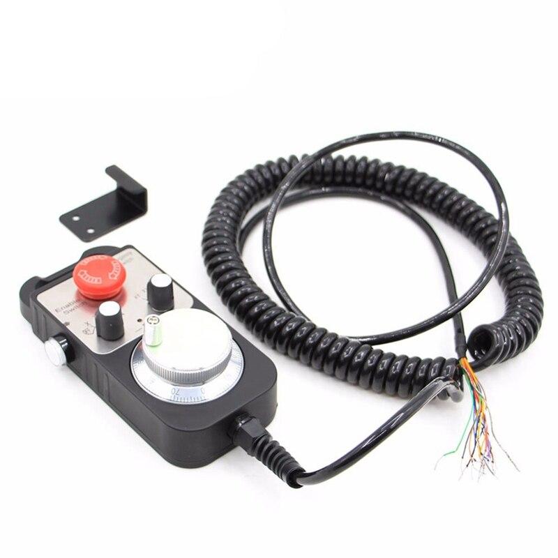 Venda quente universal cnc 4 eixos mpg pingente roda de mão 100 pulso 5 v & parada emergência cnc roteador volante 4 eixos tipo - 5