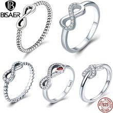 BISAER Authentic 925 Sterling Silver Infinity Ring for Women Girl Lover S925 Finger Rings Silver Wedding Fine Jewelry Gift