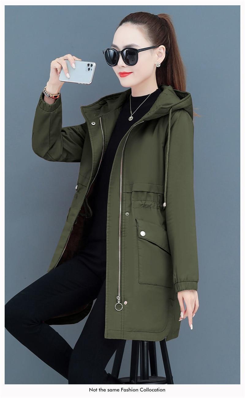 H313b2df4494346aba1ddfe823c5d5d22L NEW2021 Women Parkas Fashion Coat Elegant Winter Mid Long Cotton Jacket Plus velvet thickening Hooded Collar Female Snow Outwear