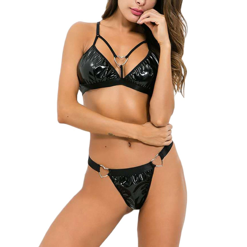 <font><b>Babydoll</b></font> <font><b>Sexy</b></font> <font><b>Lingerie</b></font> Hot Erotic Underwear Women G String <font><b>Leather</b></font> Langerie Set with Thong Sex Costumes Porno Sexi Sleepwear image