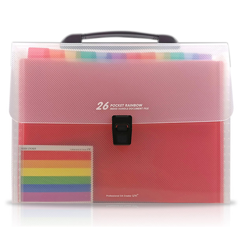 26 Accordion Folder Plastic Extension A4/Size Letter Handle Portable Document Holder Large Capacity File Cabinet