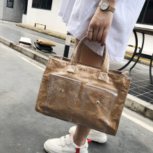 Kraft paper PVC big handbags Women bags Transparent double layer Ladies Shoulder Crossbody Bag Female Casual Tote 2019 Shopping