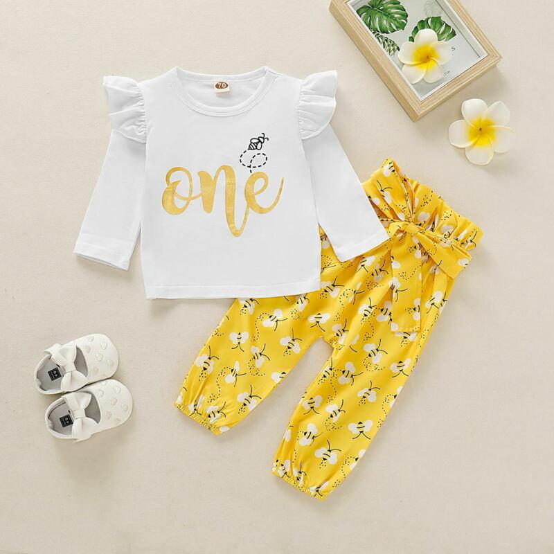 2Pcs Newborn Baby Boy Girl Polka Dot Tops T-shirt Long Pants Outfit Clothes Set