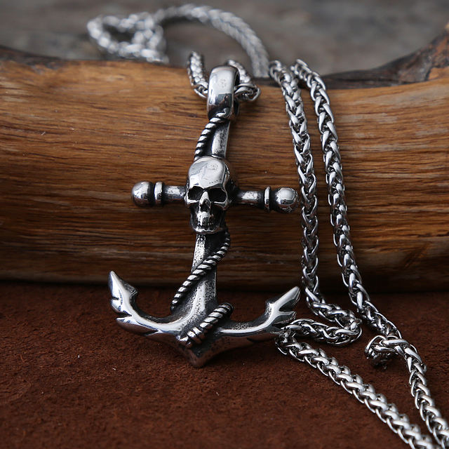 STAINLESS STEEL VIKING ANCHOR SKULL NECKLACE