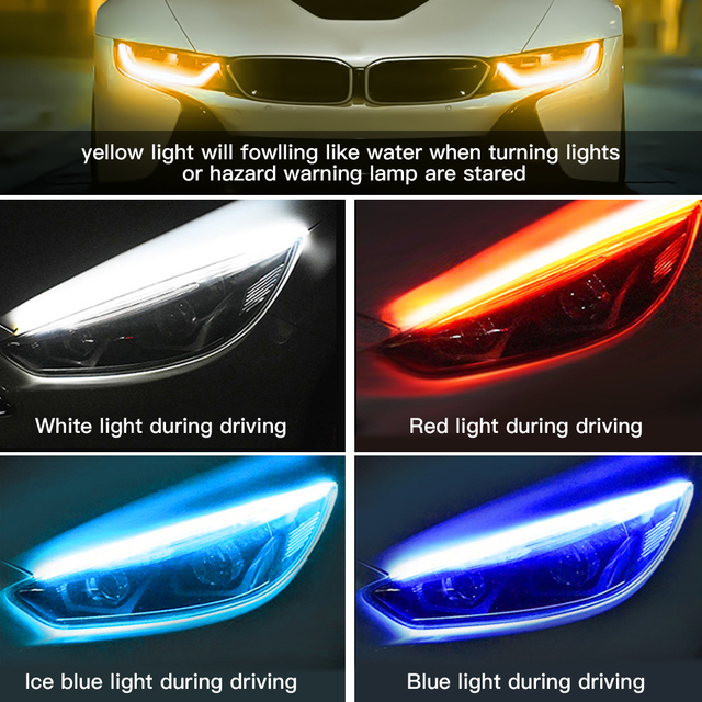 Daytime Running Light Flexible Soft Tube Guide Car Led Strip Waterproof 2x Ultrafine DRL  Accesories for Car Light Interior
