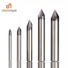 CNC carbide Smussatura fresa 60 90 120 gradi rivestito 3 flauti sbavatura end mill incisione e intaglio bit router
