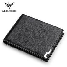 WILLIAMPOLO Geunine หนังกระเป๋าสตางค์ชายกระเป๋าสตางค์ขนาดเล็ก Slim MINI Perse เงินกระเป๋า PL175115