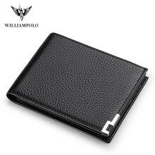 WILLIAMPOLO Geunine cartera pequeña de cuero para hombre, monedero pequeño, Mini Perse, PL175115